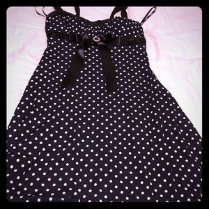 Black dress white polkadots.